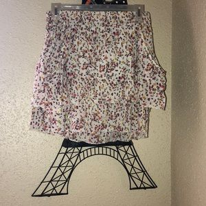 Layered floral print flared skirt